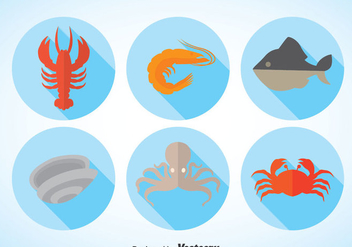 Seafood Long Shadow Vector - Free vector #370367