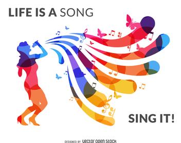 Singer silhouette banner - Free vector #370677