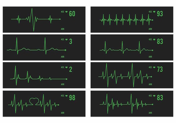 Vector Heart Monitor Set - vector gratuit #371197