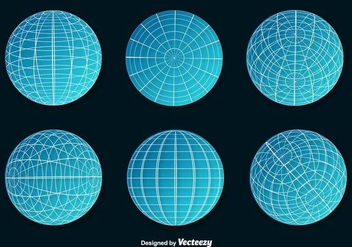 Set Of Blue Wire Frame Planet Spheres Vector - Free vector #371397