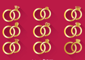 Wedding Gold Ring Vector - vector gratuit #371437