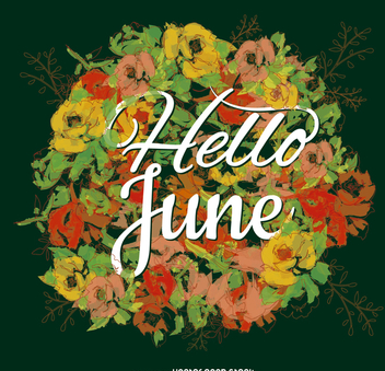 June typography poster flower background - Free vector #371447