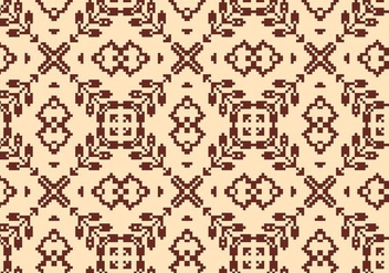 Stitching Brown Floral Pattern - Free vector #371597