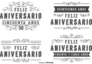 Anniversary Labels In Spanish Language - бесплатный vector #372207