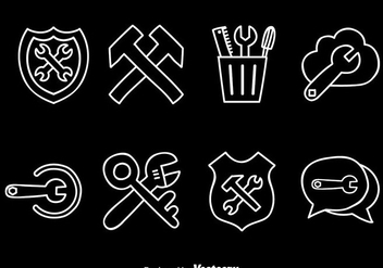 Tool Box White Line Icons - Free vector #372427