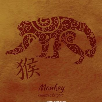 Chinese zodiac monkey illustration - vector gratuit #372737