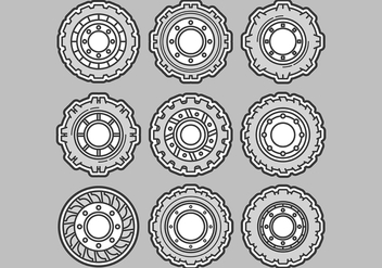 Tractor Tire Vector Icons - бесплатный vector #372857