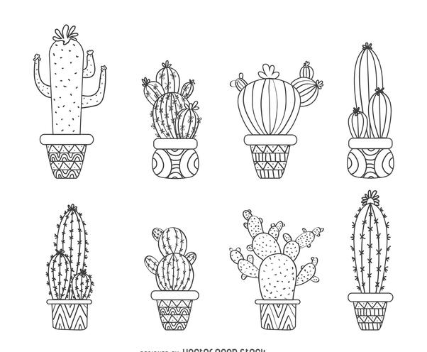 Hand drawn cactus set - бесплатный vector #373187