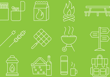 Picnic Line Icons - vector #373397 gratis