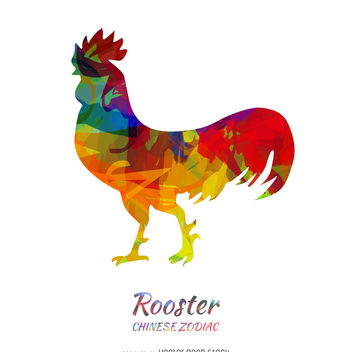 Chinese Zodiac colorful rooster - vector gratuit #373977