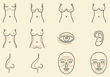 Plastic Surgery Icons - Free vector #374307