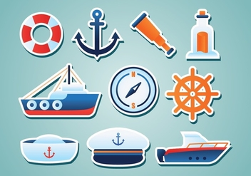 Free Nautical Stickers - vector gratuit #374607