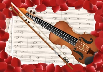 Violin With Notes Key And Red Petals Background - vector #374817 gratis