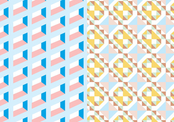 Pastel Square Geometric Pattern - Free vector #374867
