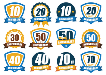 Free Anniversary Badge Pack - Free vector #375317