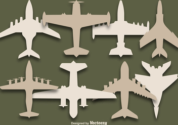 Vector Set Of airplanes silhouettes - Free vector #375497