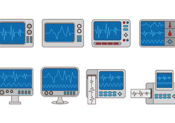 Set Of Heart Monitor Vectors - Free vector #375767