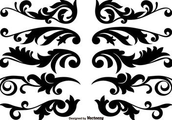 Scroll Works Design, Ornamental Decorative Vector Elements - бесплатный vector #376187