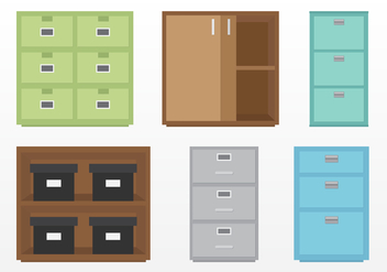 Set of File Cabinets - vector gratuit #376217