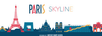 Paris sykline drawing - vector gratuit #376557