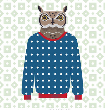 Sweater owl illustration - Free vector #376677