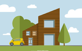 Flat house illustration - vector gratuit #377037