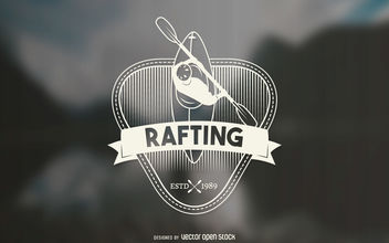 Hipster rafting label - Free vector #377057