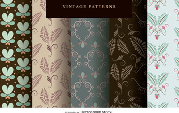 Vintage pattern wallpaper set - vector gratuit #377077