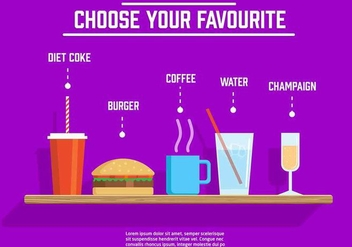 Different Free Vector Drinks And Food - Free vector #377617