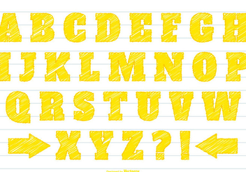 Yellow Scribble Alphabet Set - Free vector #377777