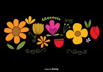 Hand Drawn Flower Element Vectors - Free vector #377867
