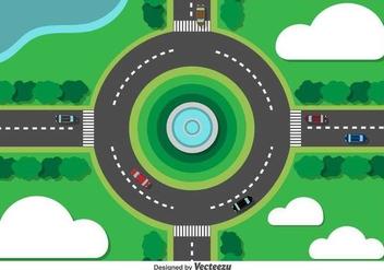 Vector Roundabout City Traffic - Kostenloses vector #378707