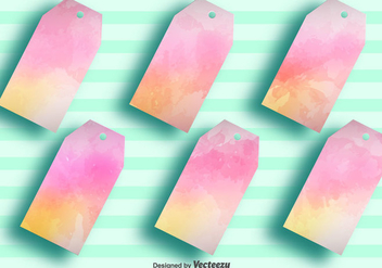 Vector Blank Watercolored Tag Labels - Set of 6 - Free vector #378977
