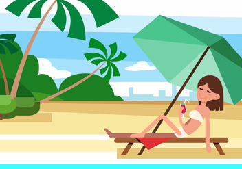 Free Summer Beach Vector Illustration With Character - Free vector #379187