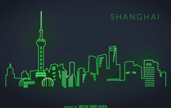 Shanghai neon skyline - Free vector #380077