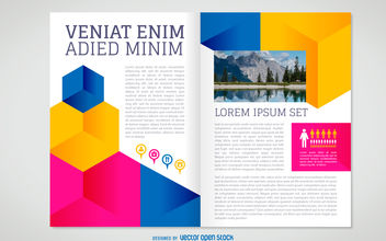 Flat brochure template - Free vector #380157