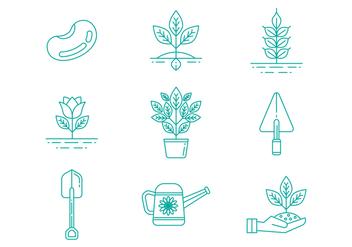 Free Gardening Line Icons Vector - vector gratuit #380257