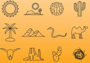 Desert Line Icons - vector gratuit #380287