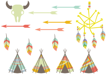Tipi and Native American Vector Icons - Kostenloses vector #380577