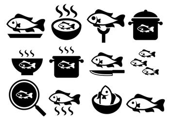 Fish Fry Vector Icons - Free vector #380607