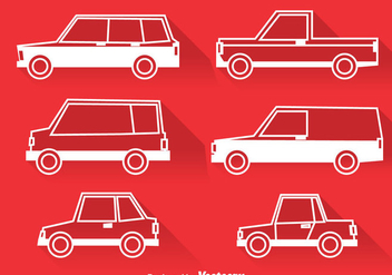 Classic Cars White Icons - vector gratuit #380887