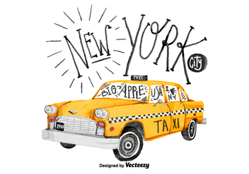 Free New York Taxi Watercolor Vector - vector gratuit #381067