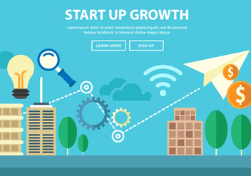 Free Start Up Growth Illustration Landing Page Vector - vector #381217 gratis