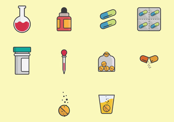 Effervescent Medicine Icon Set - vector gratuit #381427