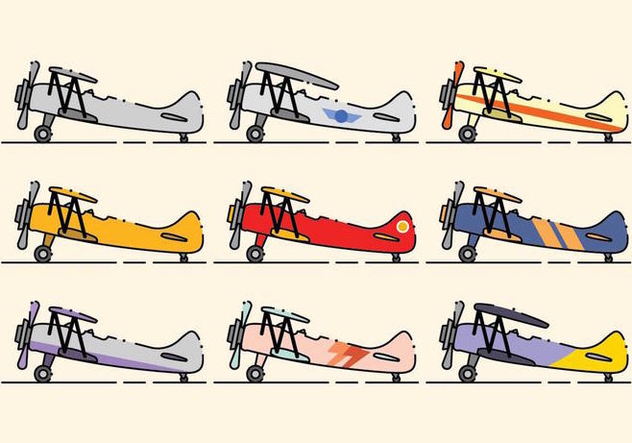 Minimalist Biplane Icon Set - Free vector #381637