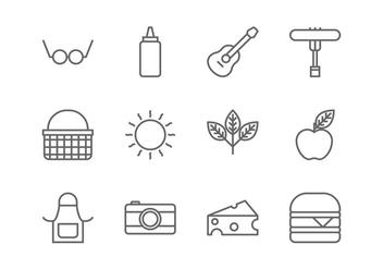Picnic Line Icon - vector gratuit #381757