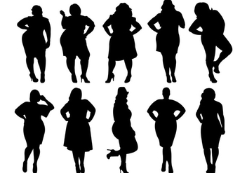 Fat Women Silhouettes Vector - Free vector #381837