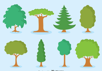 Green Tree Collection Set Vector - vector #383647 gratis