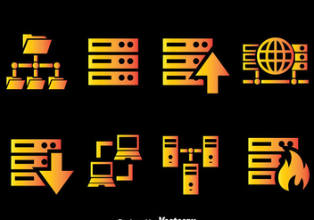 Server Rack Gradient Icons Vector - Free vector #383737