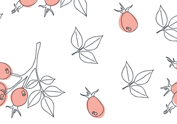 Delicate Rosehip Pattern - Free vector #383807